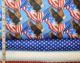 Northcott. Liberty Ride. Eagles, Stars Blue, Cream, and Red- BTY Cotton Fabric - Choose your cut and print
