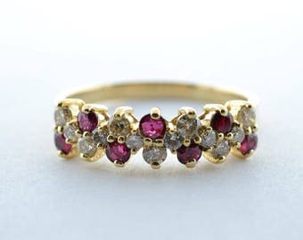 Vintage Ruby and Diamond 14K Yellow Gold Ladies Ring - Size 9.25