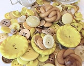 Jar of Buttons - Yellow Color - Vintage and New Mixed (1)