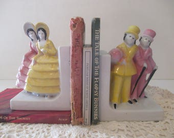 Southern Belle & Gentleman Bookends Vintage Hand Painted Japan