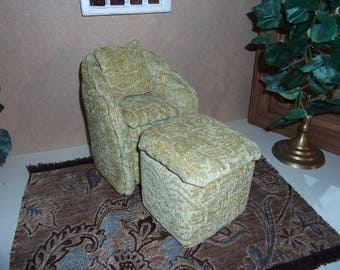 1:6th scale Barbie Dollhouse Handcrafted Upholstered Chair & Ottoman scaled for Barbie Blythe  Living Room or  Bedroom Handcrafted Handmade