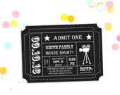 Movie Night Party Invitation, Admission Ticket, Ticket Invitation, Ticket Stub,  Editable Invitation, Editable PDF,  Instant Download