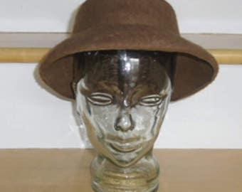 Vintage Hat - Brown Wool Hat, Women's Hat, Felt Cloche Hat, 100% Wool