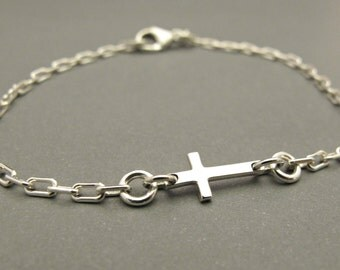Cross Bracelet - Sideways Cross - Girls Jewelry - Silver Cross - Cross Charm - Charm Bracelet - First Communion - Silver Bracelet