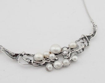 Hadar Fine Sterling Silver 925  cluster of white pearls  Pendant  chain,gift  (4103)
