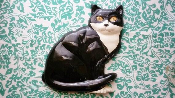 Black White Cat vintage Ceramic Wall Decor