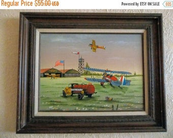 ETSYONSALE C Carson painting, serigraph Standard Oil Airport, Airplane US Mail vintage art framed Large, vintage C Carson art, folk art