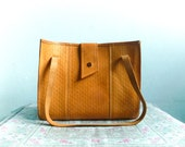 Vintage Leather Tote Bag Purse / Tan Tanned Caramel Brown Leather / Handbag Shoulder bag