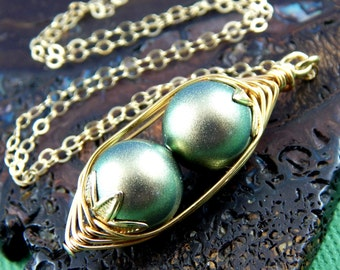 Peas In A Pod, Two Green Peas In A Pod Gold Necklace