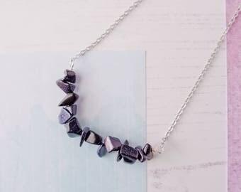 Blue Goldstone Necklace, Blue Goldstone Chip Necklace, Blue Goldstone Beads, Gemstone Necklace, Midnight Necklace, Gemstone Chip Beads