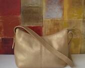 Excellent FOSSIL Metallic Gold Leather Shoulder Handbag