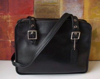 RARE Authentic Vintage COACH Handbag Black Leather Shoulder Bag 9163