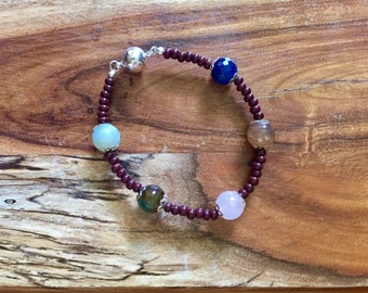 Samantha bracelet in Muted tones and Burgundy