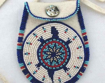Blue and White Beaded Turtle Round Medicine Bag/Pouch on Brain Tanned Deer Leather