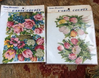Two Packages Of Vintage Floral Die Cuts Ephemera At Its Best