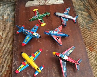 It's Like A Mini Love Field Vintage 1950 Tin Airplanes