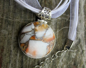 Very Beautiful Jasper Pendant, 925 Silver, One of a Kind, Gift for Artist, With Organza Cord