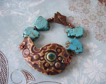 Handmade Pottery Nautilus, Brass, Turquoise Bracelet