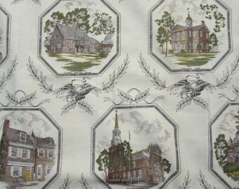 "Vintage Americana Fabric Drapes for re-use - Pair 68"" x 63"" - American Eagle & Historic Buildings - 1960s"