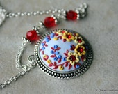Polymer Clay Statement Pendant Necklace, Polymer Clay applique, Clay Embroidery, Floral necklace