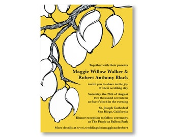 Lemon Wedding Invitations, Custom Printed with RSVP Cards and Envelopes, 20 Pieces Per Order