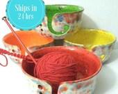 Fun-Fetti Wide Mouth Yarn Bowl Ceramic Choose your inside color - handmade in my Charleston, SC studio