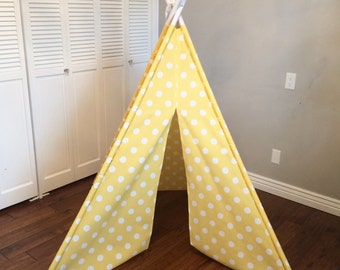 Yellow and White Polka Dot, Play Teepee, Tee Pee, Tent (poles included)