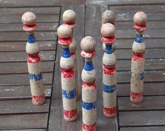 French antique Wooden Bowling Pins - Vintage French Skittles - jeu de quilles - French Flag Colors - Red Blue