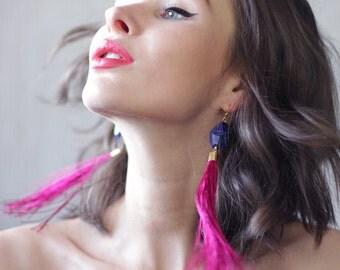 Handmade raspberry pink silk tassel faceted blue lapis lazuli stone shoulder long gold tone earrings