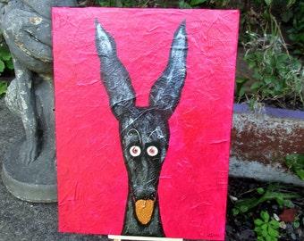 "Greyhound galgo original acrylic painting black hound silly old greyhound 9""x12"" canvas (5 GBP donation)"