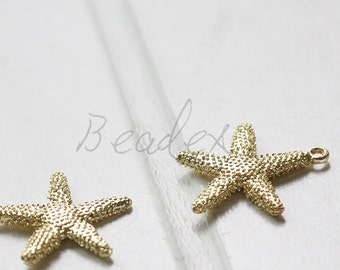 One Piece / Gold Plated / Real Gold / Base Metal / Star Fish / Charm (C135)