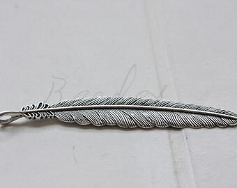 2 Pieces / Feather / Oxidized Silver Tone / Base Metal / Pendant (Y15735//D602)