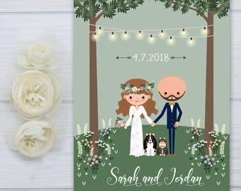 Basset Hound Dog Save the Date Postcard | Boho Wedding Save the Date | Cat Wedding Invite Suite | Wildflower Wedding Invitation Set