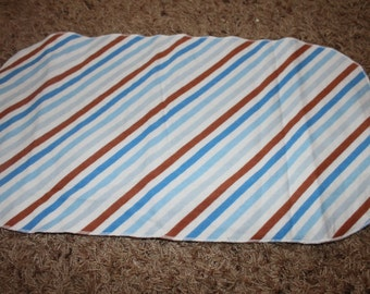 Blue Brown and White Stripped Burp Cloth with Minky