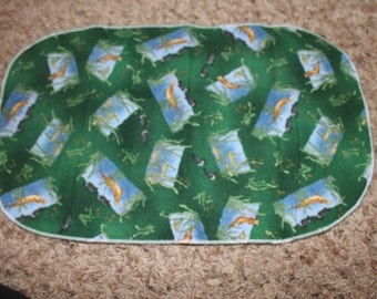 Fish and Otter Burp Cloth with Minky