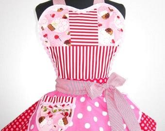 Colorful Polka Dots and Pink Cupcake Apron
