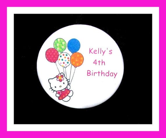 Birthday Party Favor Personalized Button, Kitty Pin Favor,School Favor,Kid Party Favor,Boy Birthday,Girl BirthdayPin,Favor Tag Set of 10