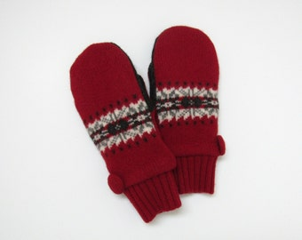 Felted Wool Mittens Fleece Lined Red Gray and Cream Snowflake Fair Isle Stripe Wool Mittens