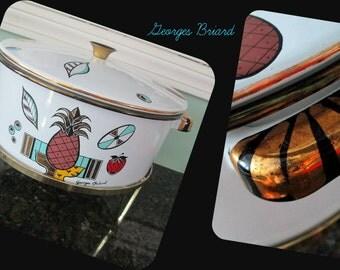 Mid Century Modern Enamelware Cooking Serving 1960s Georges Briard Three Piece Set