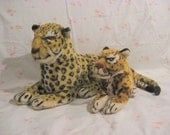 Two plush leopard carnival winnings, Large and small, late 1970s  to early 80s