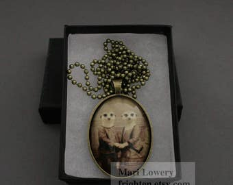 Meerkat Art Necklace, Romantic Jewelry, Animal Pendant with Long Chain and Box, Valentine's Day Gift