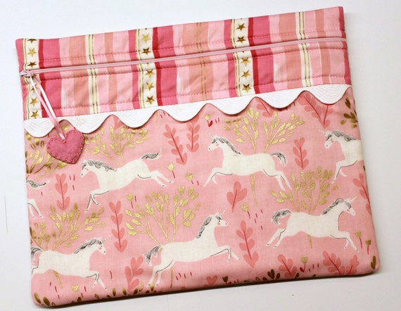 Pink Gold Unicorns Cross Stitch Embroidery Project Bag