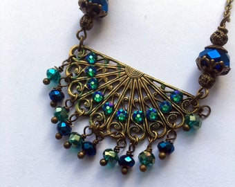 Rhinestone Necklace Statement Necklace Peacock Necklace