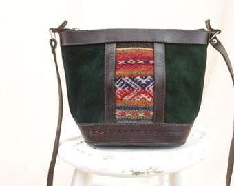 Boho Leather Purse * Southwesten Purse * Green Suede Purse * Leather Shoulder Bag * Tribal Purse * Hippie Purse * Bohemian Purse