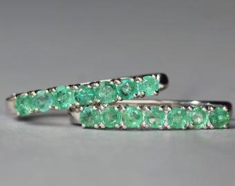 GENUINE Zambian Emerald Hoop Earrings,Emerald Gemstone Large Silver Hoop,Pave,May Birthstone,2.4 Carat,Sterling Silver Hoop,Women,Gift,OOAK