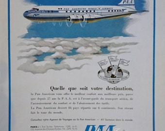 Vintage French Ad  Pan Am Airlines 1955