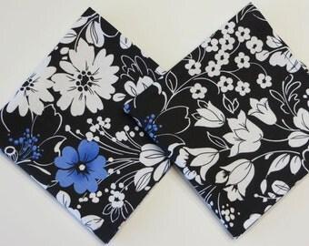 Black Ladies Handkerchiefs,  Funeral Hankies, Sympathy Gift,  Formal floral hankies,  Set of 2, Black, white and Blue,   Handmade in the USA