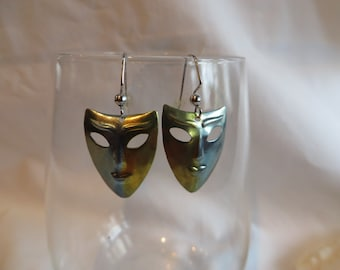 Silver and Gold Face Earrings, earrings, face, dangle