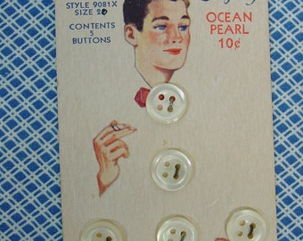 Vintage Buttons on Original Luckyday Card, Man Smoking and 5 Pearl Buttons