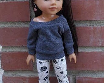 14inch dolls leggings off the shoulder sweater boots